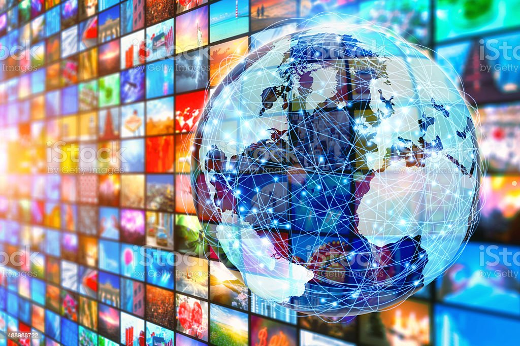 World of communications, planet surrounded by multimedia images stock photo