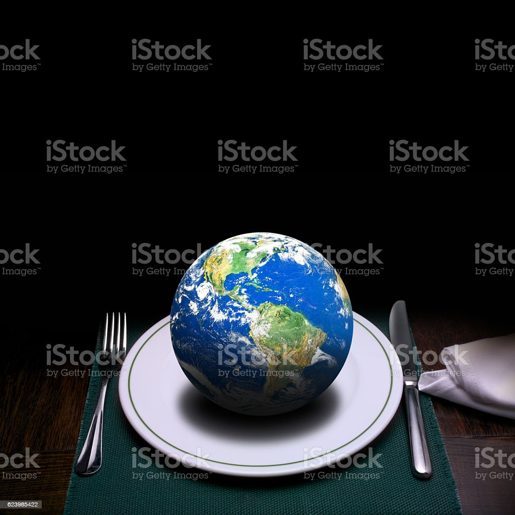 world on dinner table stock photo