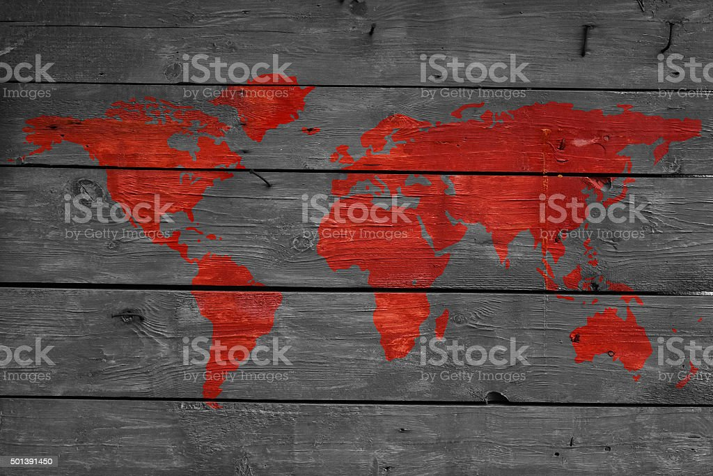 World on fire wooden texture with map royalty-free stock photo