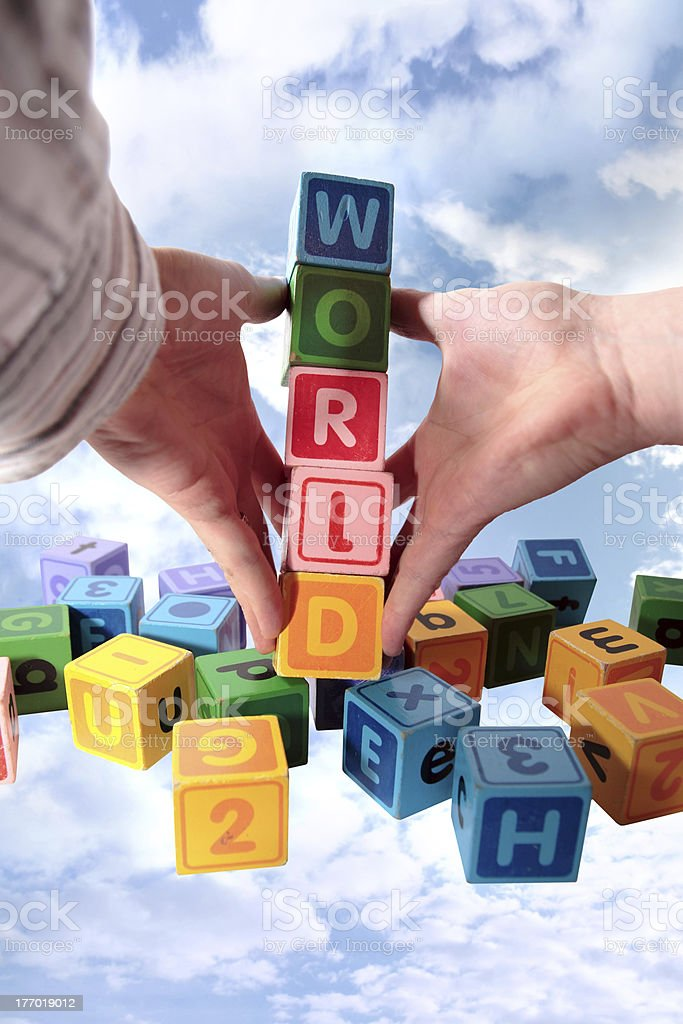 world on hands in heavens royalty-free stock photo