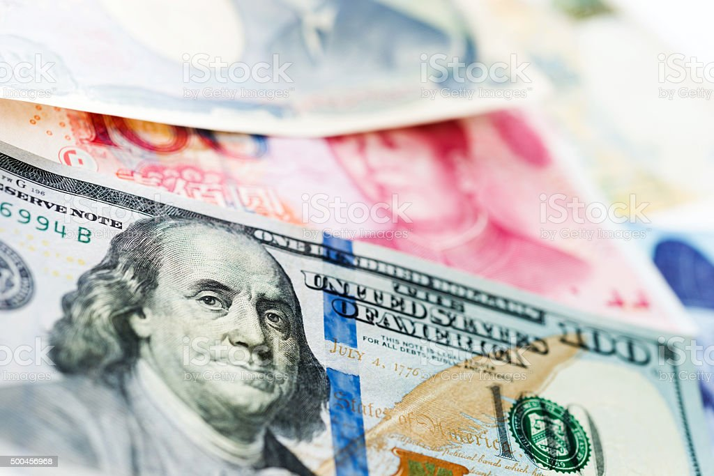 World paper currencies stock photo
