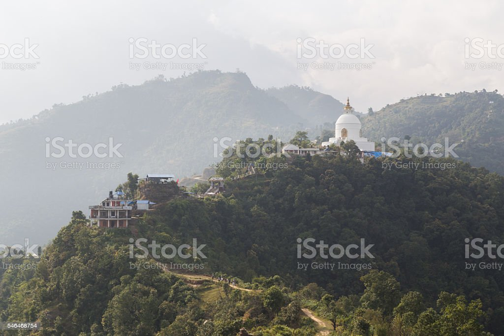 World Peace Pagoda in Pokhara, Nepal stock photo