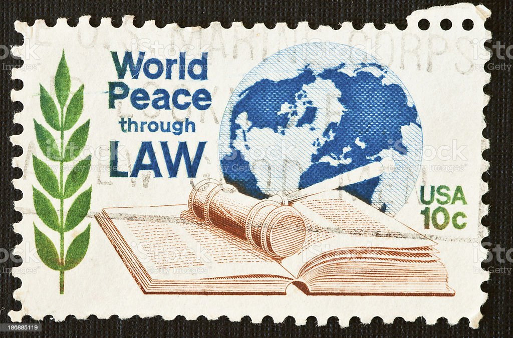 World Peace through Law Stamp stock photo