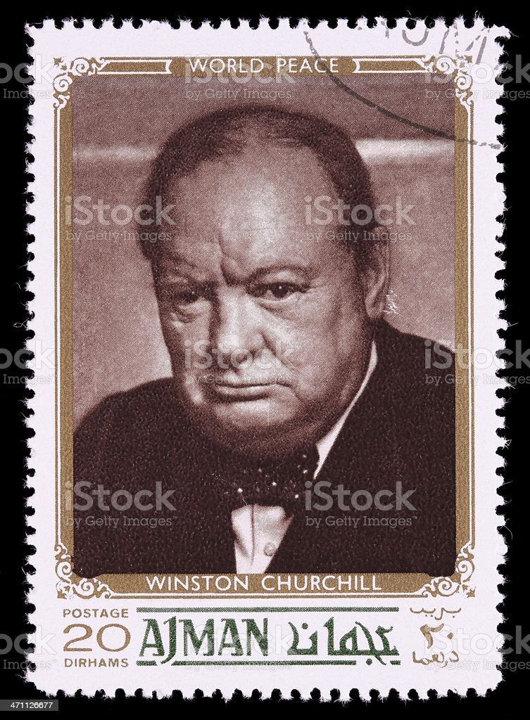 World peace Winston Churchill postage stamp stock photo