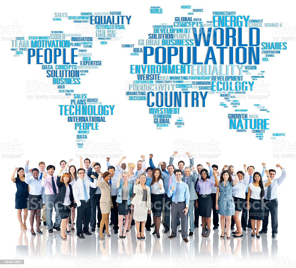 World Population Global People Community International Concept stock photo