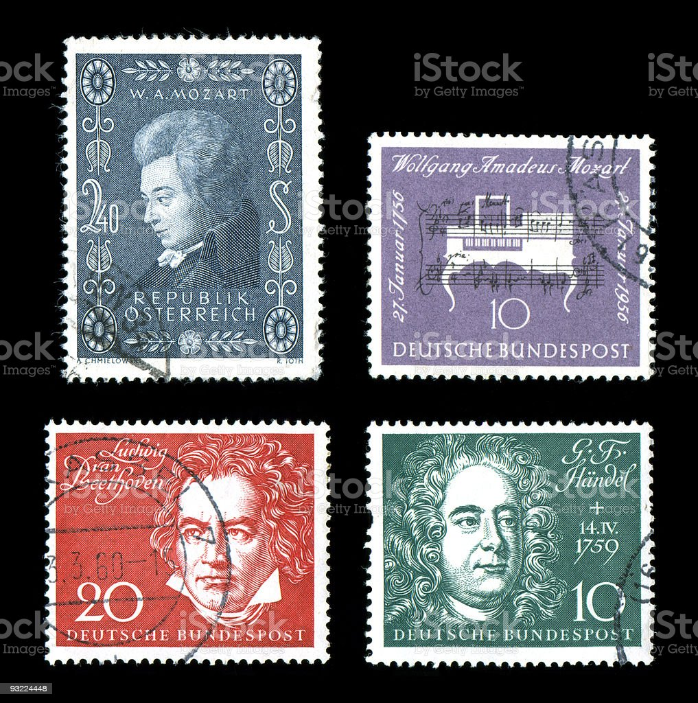 World Postage Historic Composers royalty-free stock photo