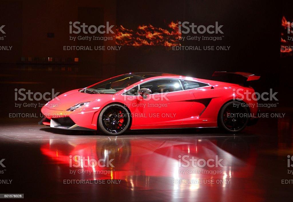 World premiere of Lamborghini Gallardo LP 570-4 stock photo