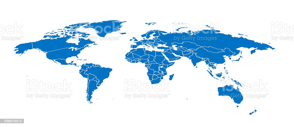 World simple blue map on white background stock photo