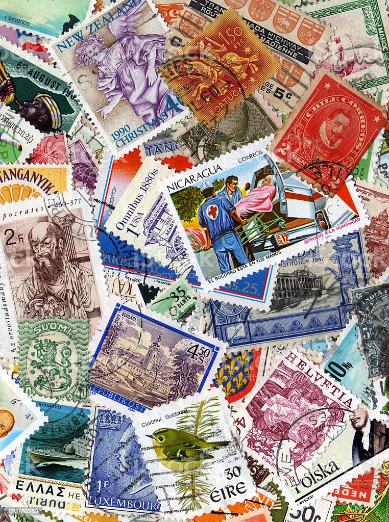World Stamp Collection Background royalty-free stock photo