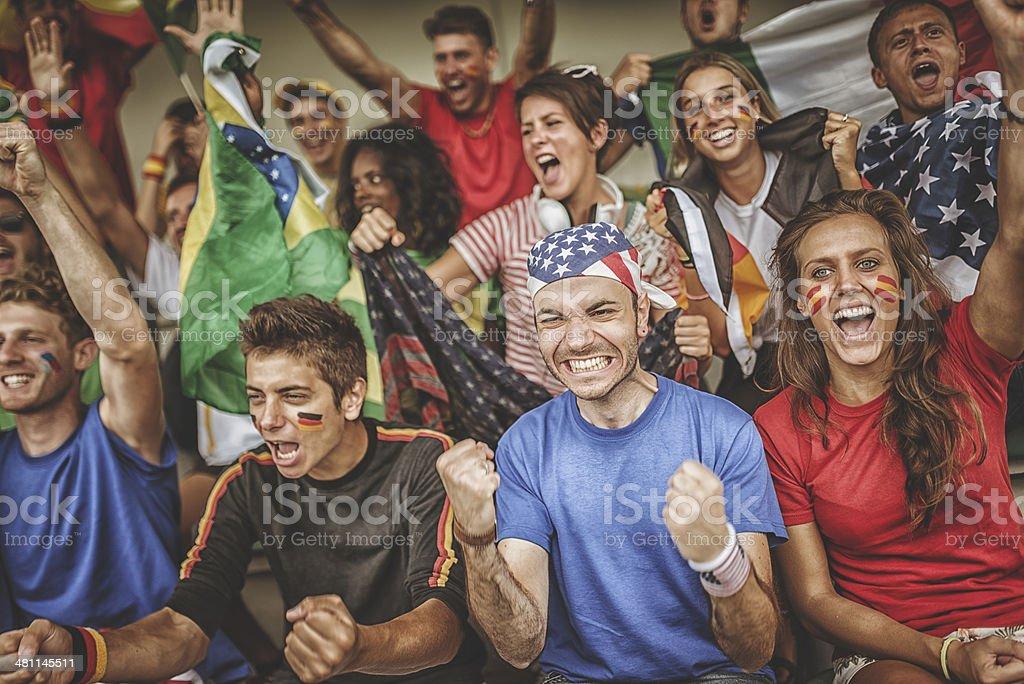 world supporter at the soccer stadium stock photo
