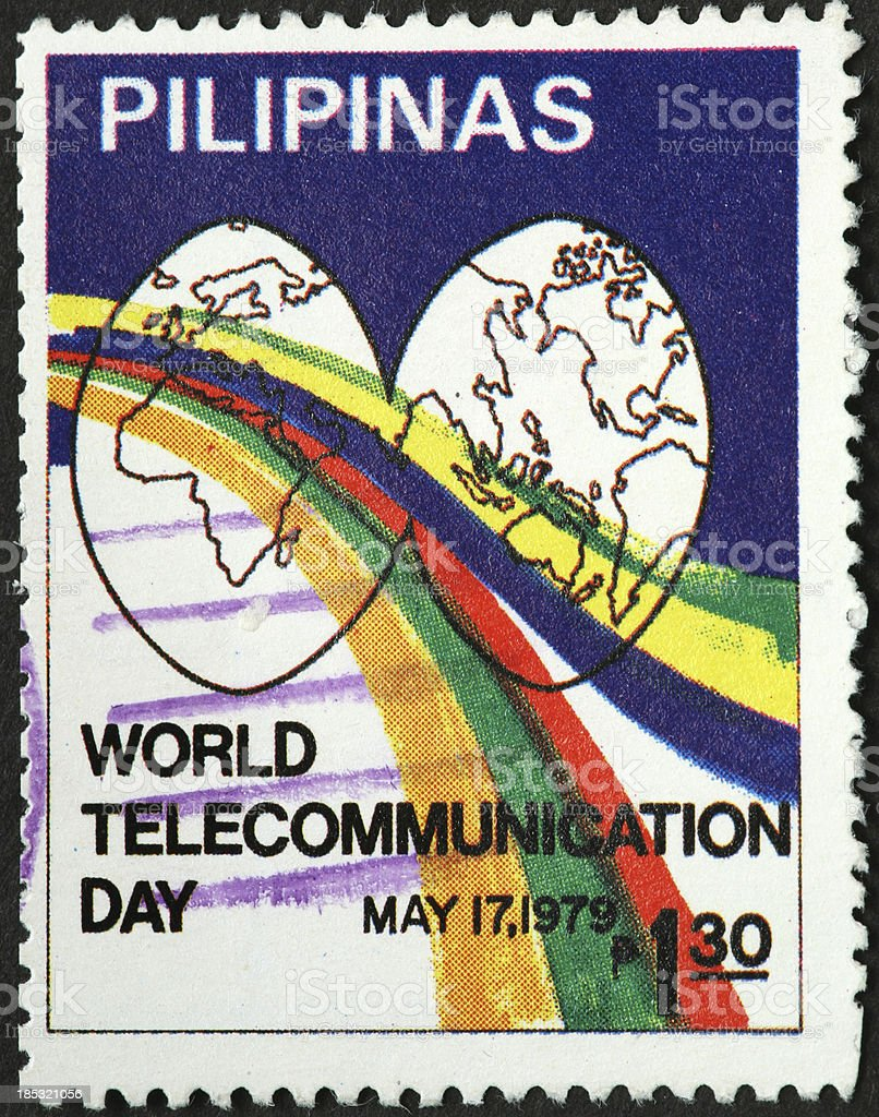 world telecommunications day stamp, Philippines royalty-free stock photo