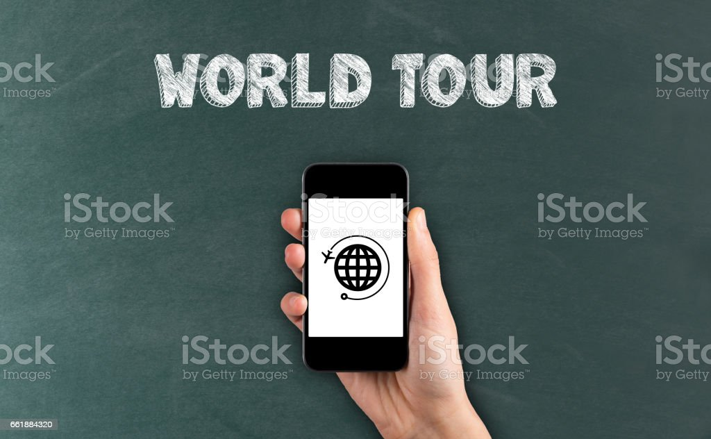 World Tour Icon on Phone Screen stock photo