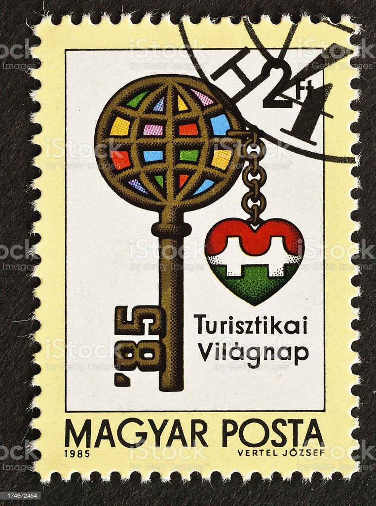 World Tourism Day Stamp stock photo