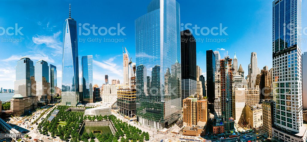 World Trade Center Aerial Panoramic View in New York City stock photo