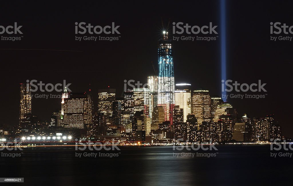 9/11/2012 World Trade Center at Night stock photo