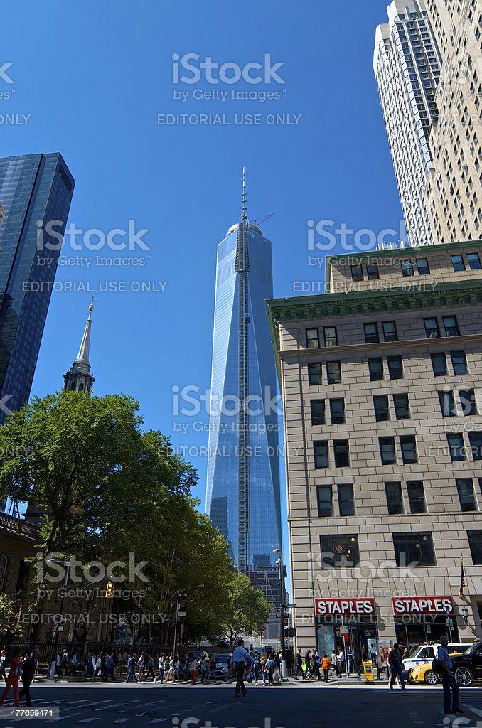 World Trade Center Cityscape, Broadway, Lower Manhattan, New York City royalty-free stock photo
