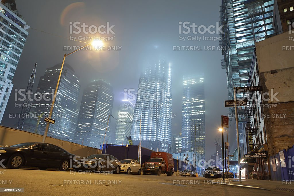 World Trade Center construction site foggy night stock photo