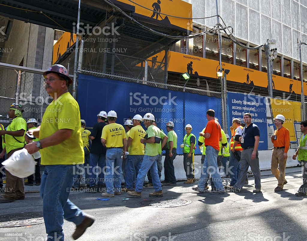 World Trade Center construction workers entering security gate, NYC stock photo