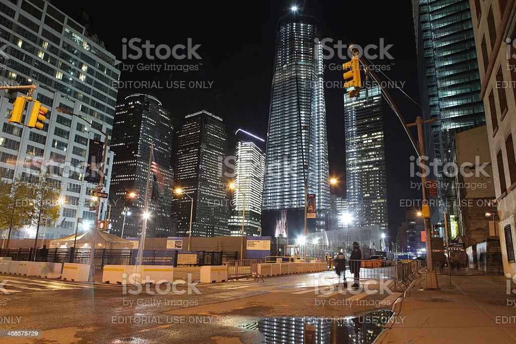World Trade Center Ground Zero construction site at night stock photo