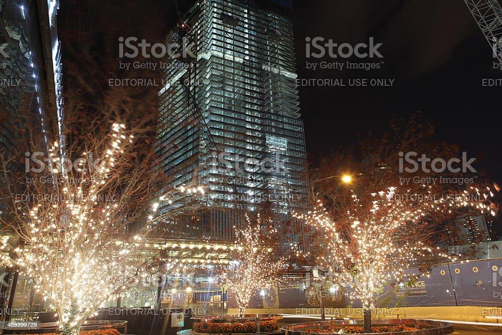 World Trade Center Ground Zero construction site at night stock photo