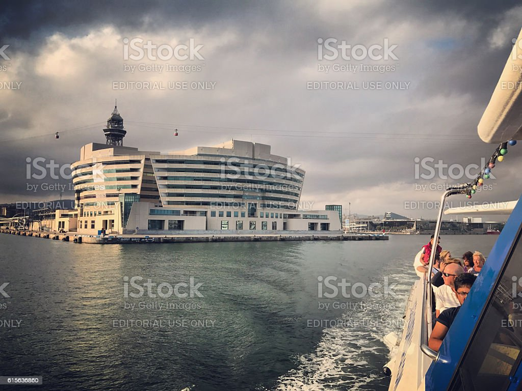 World Trade center in Barcelona seen from a ferry stock photo