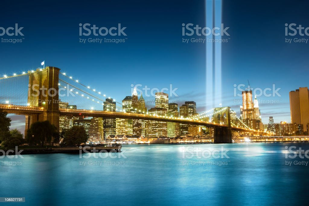 World Trade Center lights over Manhattan royalty-free stock photo