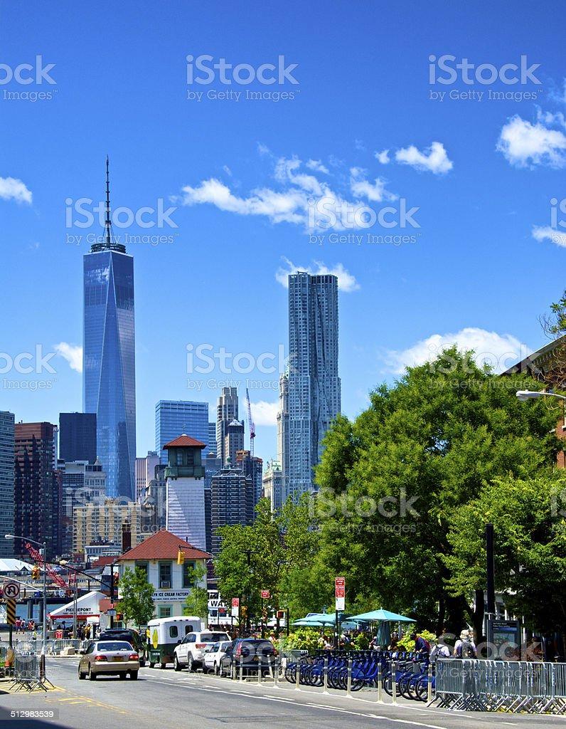 ONE World Trade Center, Lower Manhattan from Brooklyn, Manhattan, NYC stock photo