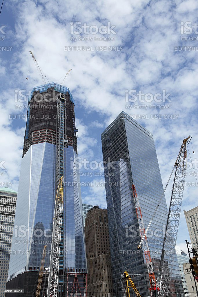 World Trade Center New York construction stock photo