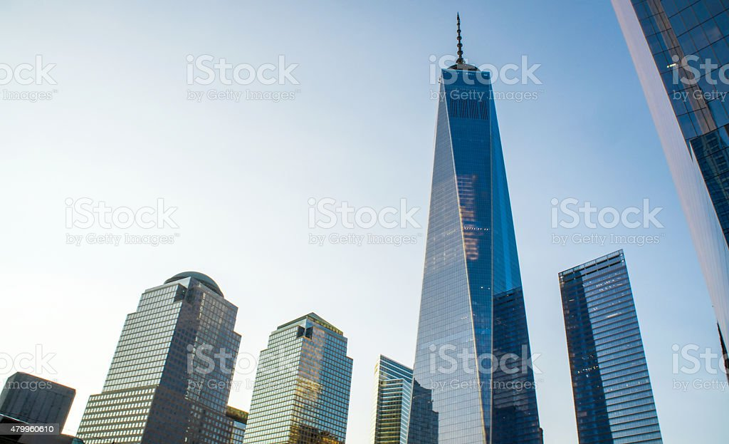 ONE World Trade Center Progress, Spire rising, Ground Zero, NYC stock photo