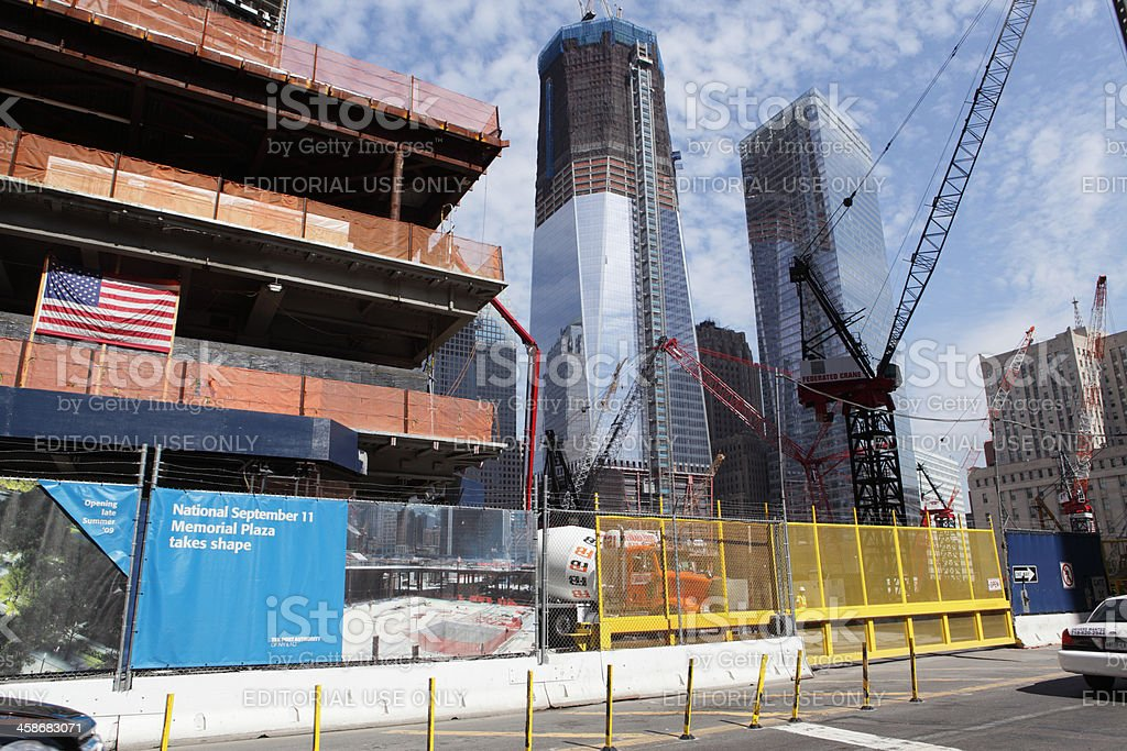 World Trade Center towers and Ground Zero construction site stock photo