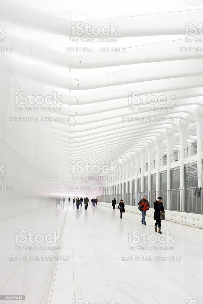 World Trade Center Transit Hub Concourse by Santiago Calatrav NYC stock photo