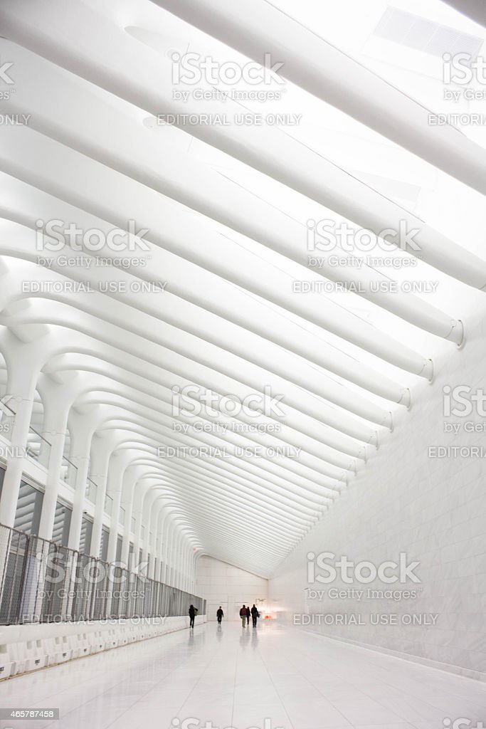 World Trade Center Transit Hub Concourse by Santiago Calatrav stock photo