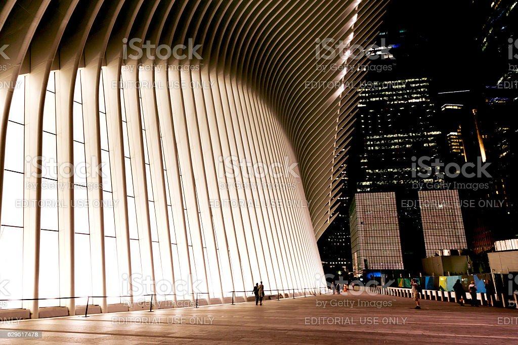 World Trade Center Transportation Hub in night stock photo