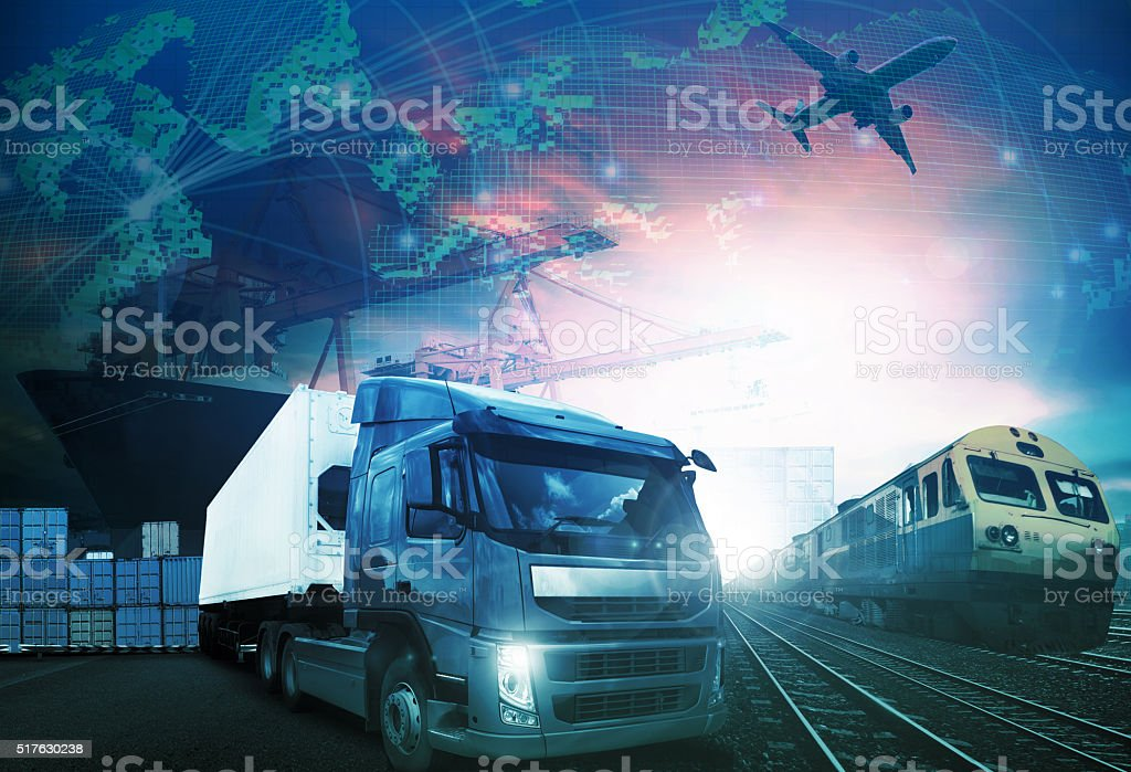 world trading with industries truck,trains,ship and air cargo stock photo