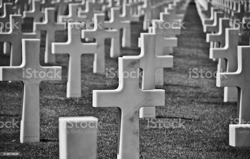 US World War 2 cemetery in Normandy France stock photo