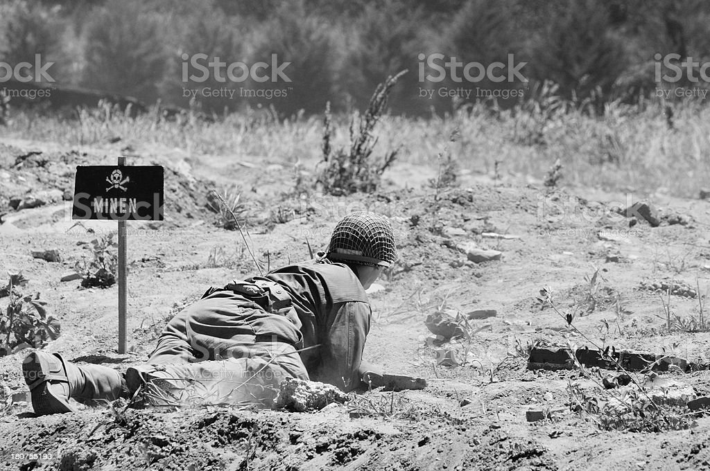 World War 2 D-Day Military Reenactment Soldier Black and White royalty-free stock photo