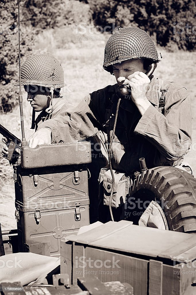 World War 2 Soldier Using a Field Telephone stock photo