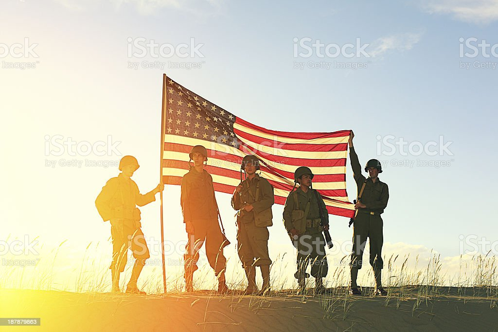 World War 2 Soldiers with American Flag stock photo