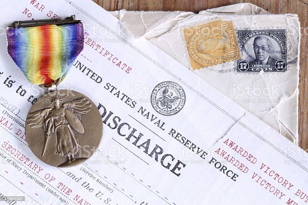 World War I Memorabilia - medal stock photo