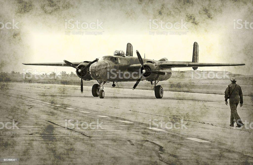 World War II airplane and pilot stock photo
