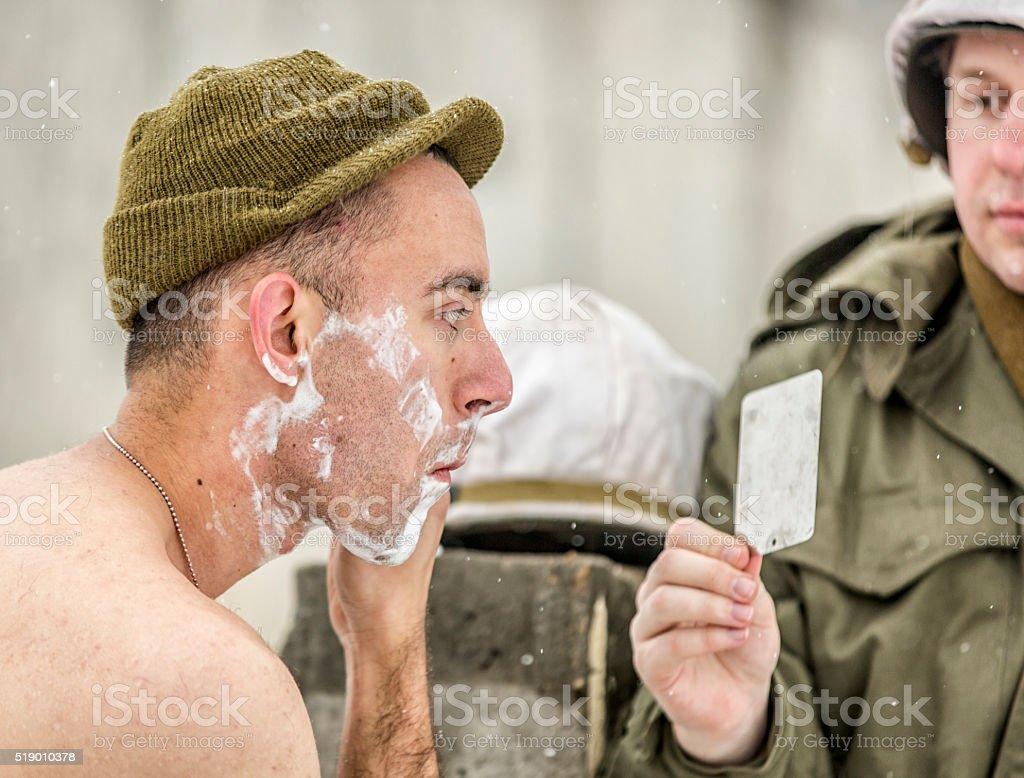 World War II: Army Soldier Shaving stock photo