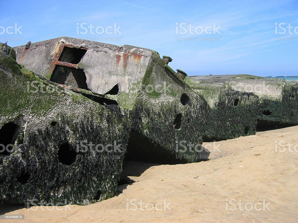 World War II Debris on Omaha Beach in Normandy stock photo