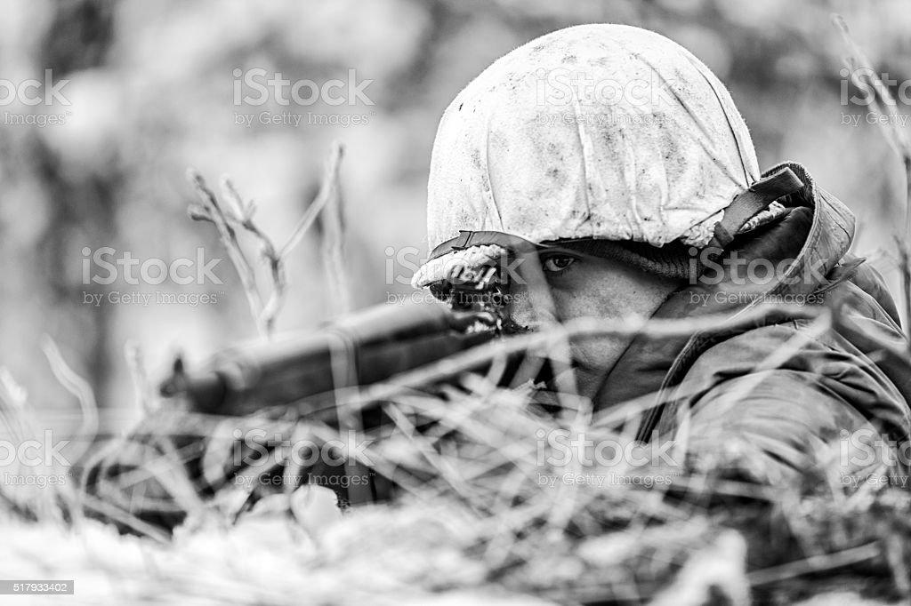 World War II Enemy Fire Front Line stock photo