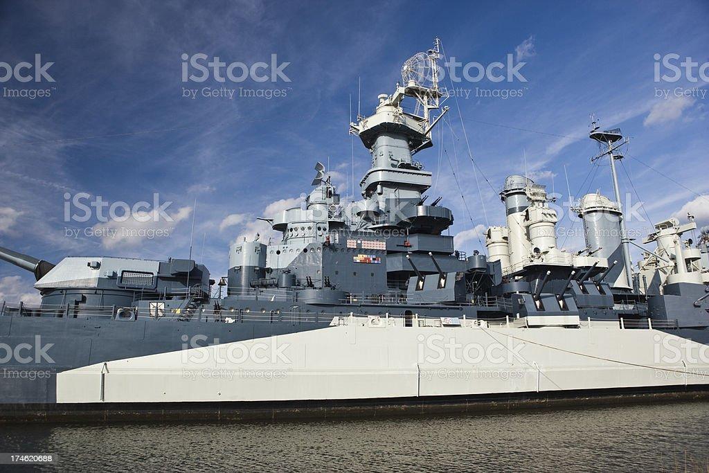 World War II era battleship royalty-free stock photo