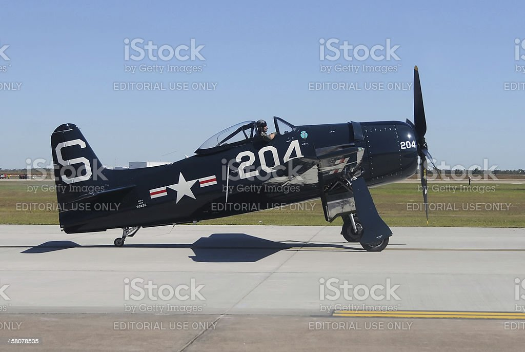 World War II era fighter plane stock photo