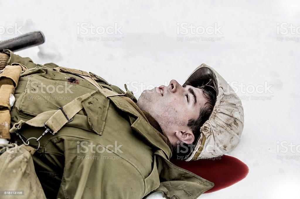 World War II: Fallen Soldier stock photo