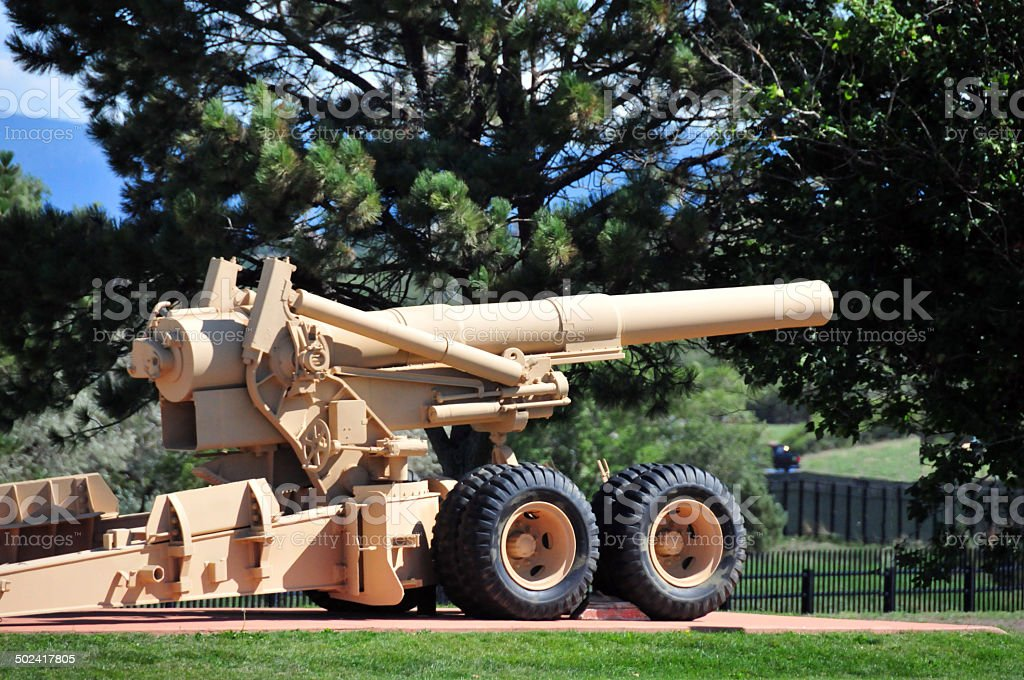 World War II heavy artillery stock photo