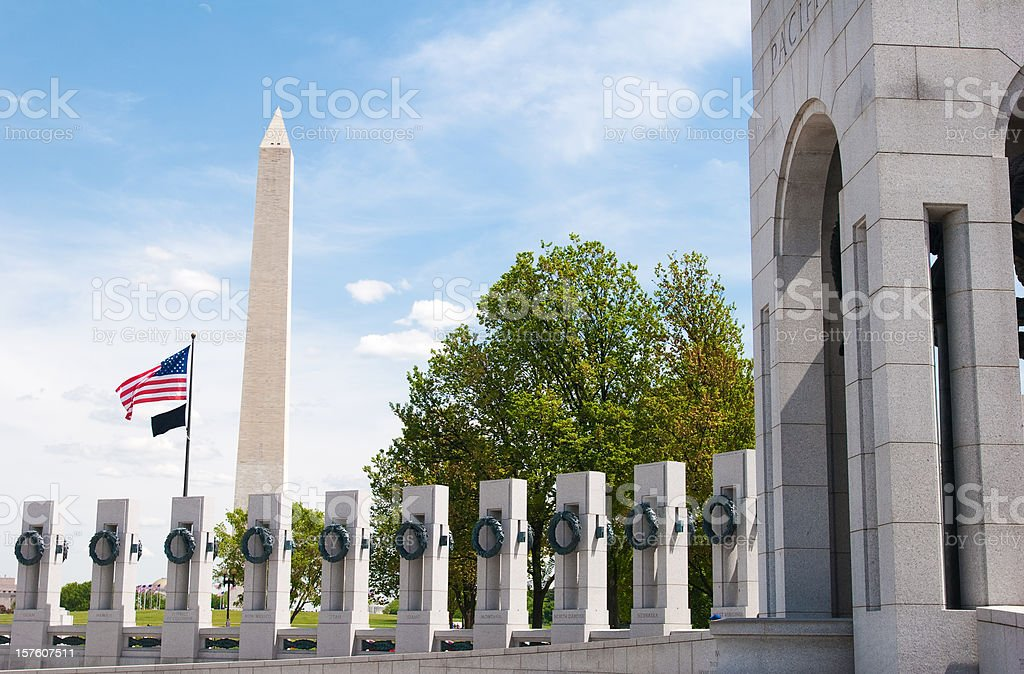 World War II Memorial and Washington monument royalty-free stock photo