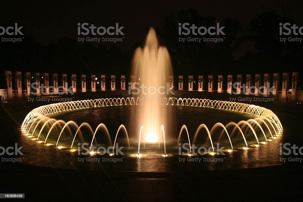 World War II Memorial at Night stock photo