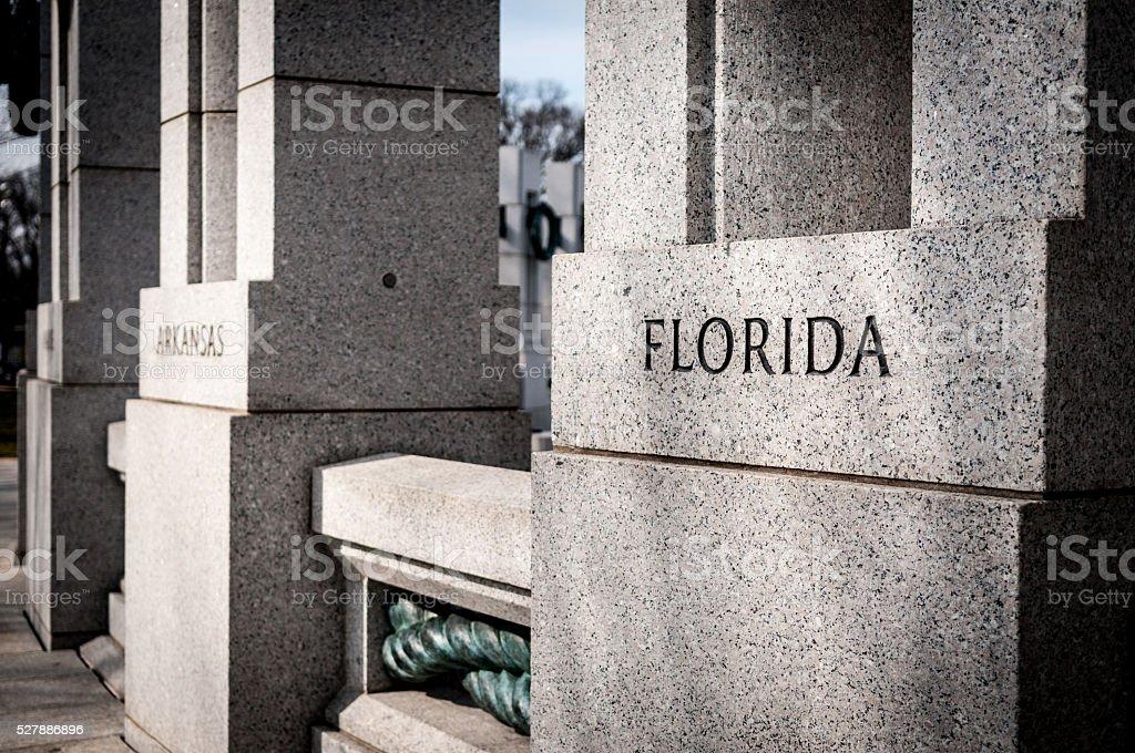 World War II Memorial Florida Column stock photo